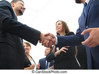 Large group of multiethnic business people making handshake