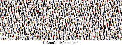 Large group of people. Crowd seamless background