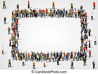 Large group of people crowded in square frame on white background.