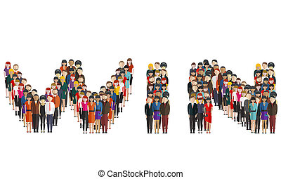 Large group of people forming the shape of the word text win on a white background. Team work, Win team