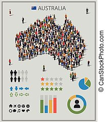 Large group of people in form of Australia map with...