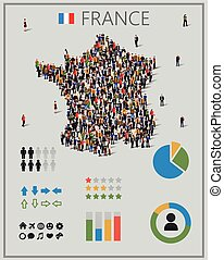Large group of people in form of France map with...