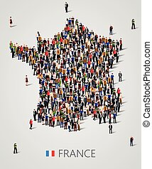 Large group of people in form of France map. Population of...