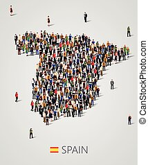 Large group of people in form of Spain map. Population of...