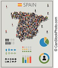 Large group of people in form of Spain map with infographics...