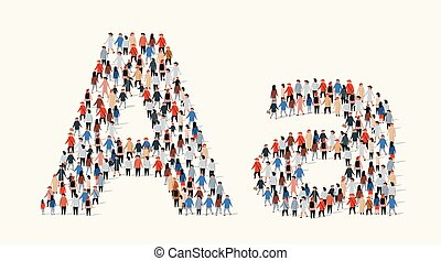 Large group of people in letter A form