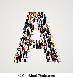 Large group of people in letter A form. Vector seamless...