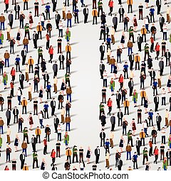 Large group of people in letter I form