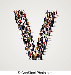 Large group of people in letter V form