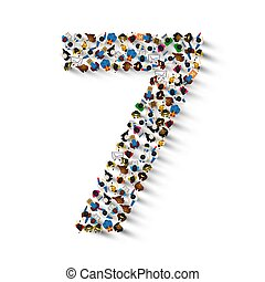 Large group of people in number 7 seven form.