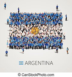 Large group of people in the Argentina flag shape.