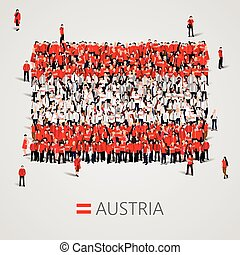 Large group of people in the Austria flag shape.