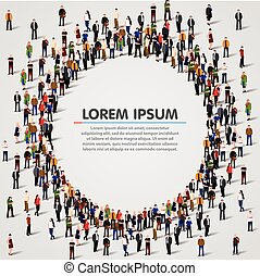 Large group of people in the circle shape. - Large group of...