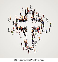 Large group of people in the cross shape.