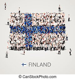 Large group of people in the Finland flag shape.