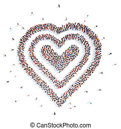 people in the form of heart. - Large group of people in the...