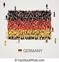 Large group of people in the Germany flag shape.