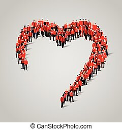 Large group of people in the heart shape.