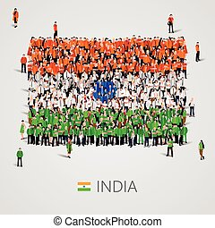 Large group of people in the India flag shape.