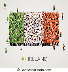 Large group of people in the Ireland flag shape.
