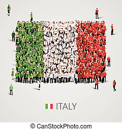 Large group of people in the Italy flag shape.