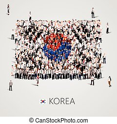 Large group of people in the Korea flag shape.