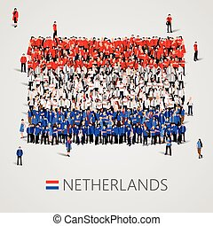 Large group of people in the Netherlands flag shape.