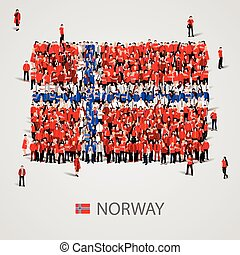 Large group of people in the Norway flag shape.
