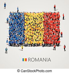 Large group of people in the Romania flag shape.