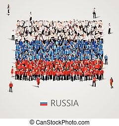 Large group of people in the Russia flag shape.