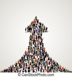 Large group of people in the shape of a grossing arrow. Way to success. Business concept.