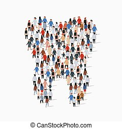Large group of people in the shape of a tooth. Isolated on white background.