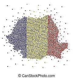 Large group of people in the shape of Romanian flag. Romania.