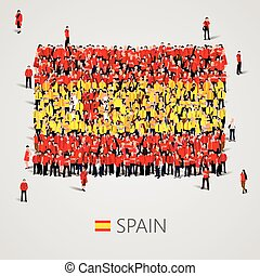 Large group of people in the Spain flag shape.