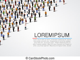 Large group of people on white background