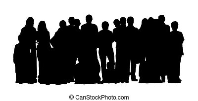 large group of people silhouettes set 1 - black silhouette...
