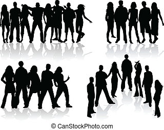 large group of people silhouettes - vector illustration
