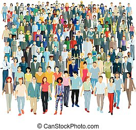 Large group of people - vector illustration