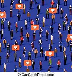 Large group of people with like signs. Social network concept.