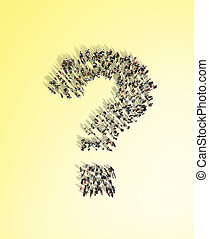 Large group of people with questions, thinking concept, or quest