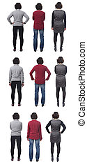 large group of photos of a woman from behind on white background