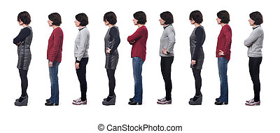 large group of photos of a woman with different clothing on white background