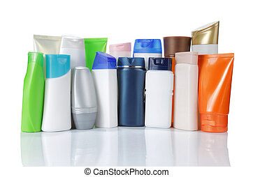 large group of product packaging. isolated over white background