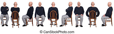 large group of same man in pajamas sitting o a chair on white background