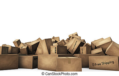 large group of shipping boxes