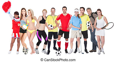 Large group of sports people. Isolated on white