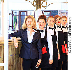 Large group of waiters