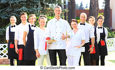 Large group of waiters
