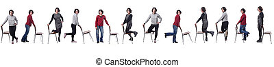 large group of woman playing with a chair in white background