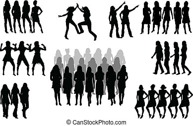 Large group of women - silhouette vector
